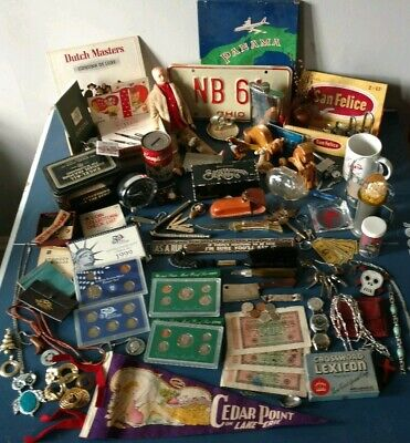 Vintage JUNK DRAWER Lot MINT COINS KNIVES toys HUGE ESTATE jewelry SILVER GOLD$$
