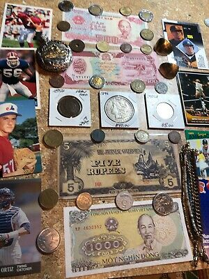 Junk Drawer Lot#10 Vintage Silver Coins 1896 Morgan Dollar 1854 Large Cent Penny