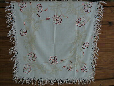 "Vtg 1940s Embroidered Cotton Table Cloth - Red & Light Tan on White - 36"" X 40"""