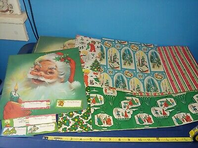 Vintage Christmas 1940's Christmas Wrapping Paper Unused In Box With Tags
