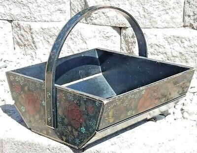 AWESOME: HAND PAINTED TOLEWARE WOODEN SQ BASKET signed 1961