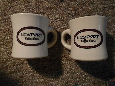 Vintage 2 Newport Coffee House Vertex Thick Diner Coffee Cups