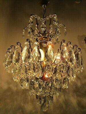 "Antique Vnt French HUGE Brass Spider Style Crystal Chandelier 1940's 17"" Ø Rar"