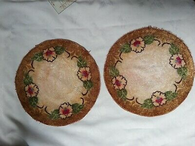 2 punch needle small rug, vintage