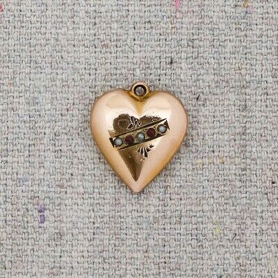 Antique 19th Century Victorian Garnet Seed Pearl Gold Filled Heart Charm Pendant
