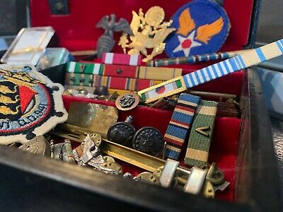 Vintage Military Men's Jewelry Junk Drawer Lot US Navy Sterling Patch Pin ++