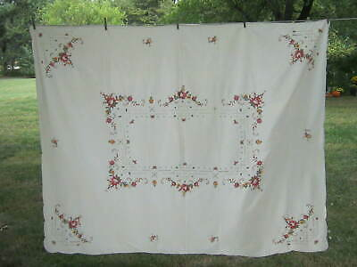 """Vintage NOS Embroidered FLORAL ROSE Tablecloth Shabby Chic Cottage 66"""" x 83"""""""