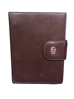 GUCCI Vintage Gold GG Logo Agenda Day Planner Binder Cover Leather Italy