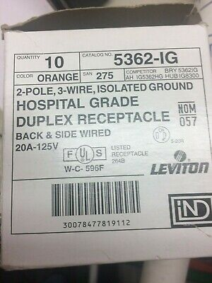 Leviton 5362-Ig Hospital Grade 125V 20A Duplex Receptacle Orange Smooth Face