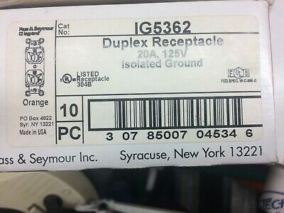 Pass & Seymour Ig5362 125V 20A 2P 3W Orange Isolated Ground Receptacle