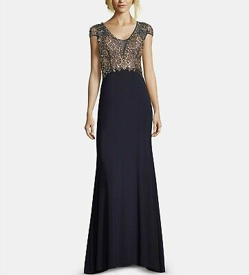 Betsy & Adam Embellished Open-Back Gown MSRP $370 Size 10 # 4NA 271 Blm
