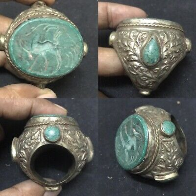 RARE Huge Big turquoise Seal intaglio Old Ring Animal Stamp Silver