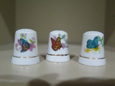 Lot Of 3 -  Ceramic Thimbles Butterflys Collectable