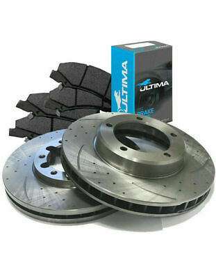SLOTTED DIMPLED Front 282mm BRAKE ROTORS & ULTIMA PADS D488S x2 CRV 01~07 2.4L