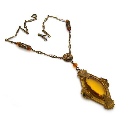 Vintage 1930s Art Deco Czech Style Topaz Glass Necklace, Rhinestone Glass Bead