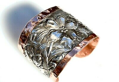 Sterling Silver Copper Cuff Bracelet Antique Art Nouveau Floral Unger Brothers