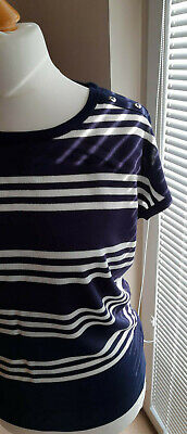 WALLIS  jersey top size S  36-38 navy white stripe  short sleeve NEW with tags