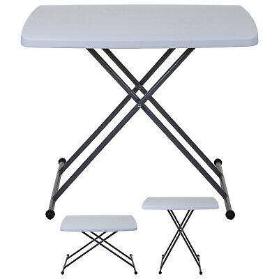 Blow Moulded Folding Heavy Duty Table Garden Outdoor Camping Height Adjustable