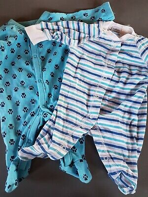 2 pre-loved baby one piece suits 100% cotton size 0000. white and blues