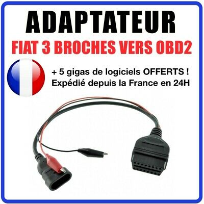 Adaptateur connecteur diagnostic CABLE OBD2 3 broches VERS 16 pin Interface FIAT