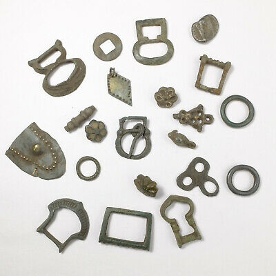 ancient set, enamel buttons, buckles, clothes hooks and other artifact