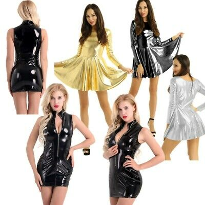Sexy Women Metallic Dress A-line Skirt Shiny Bodycon Wet Look Prom Club Wear