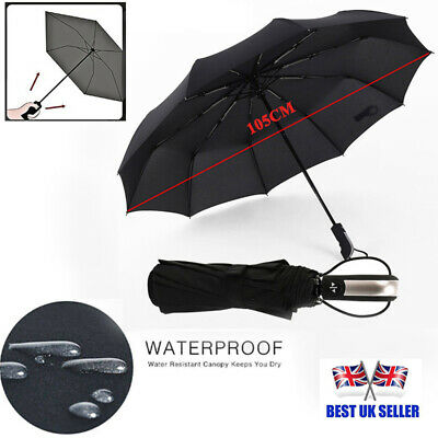 Premium 10Ribs Large Strong Frame Compact Windproof Fully-automatic Umbrellas UK