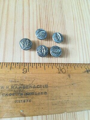 Retro vintage antique Art deco silver metal shanked small buttons x 5 set RARE