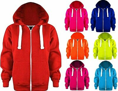 Girls Boys Plain Coloured Fleece Hoodie Junior Zip Up Hooded Jacket Hoody Tops