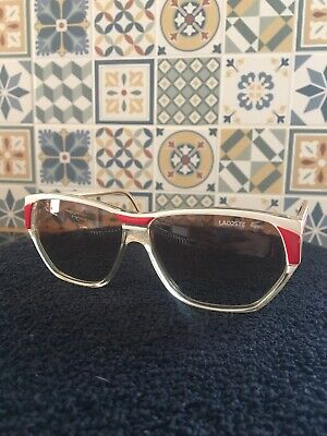 Retro Vintage Lacoste Sunglasses New Old Stock White/Red/Gold