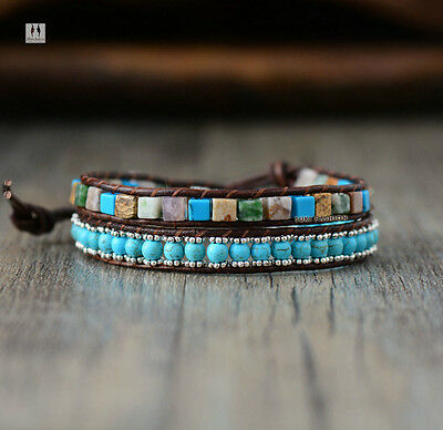 Gemstone Bead Turquoise Bracelet Wrap Beach Blue Chakra Leather Agate