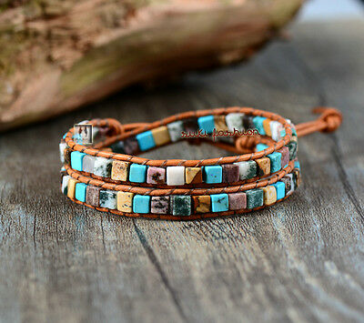 Gemstone Beaded Friendship Bracelet Wrap, Chakra Leather Agate Brown Blue