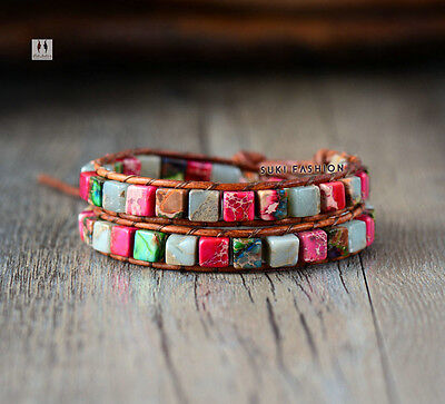 Gemstone Chakra Beaded Friendship Wrap Bracelet Leather Agate Red