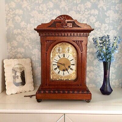 Antique Junghans Carved Solid Oak Westminster Chime Bracket Clock,Restored 1908.
