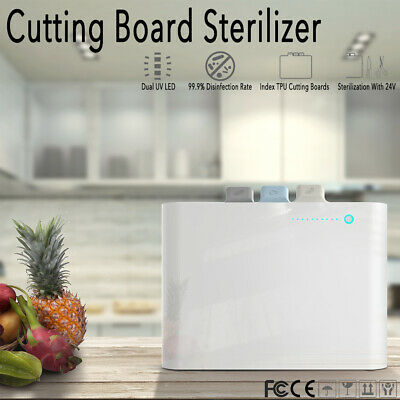 Electric Auto Antibacterial Cutting Chopping Board Set Dual UV Sterilizer Stand