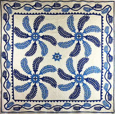 Blue & White Antique Styled Princess Feather - Finished Quilt
