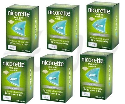 Nicorette Chewing Gum 2mg Original - 105 Pieces PACK OF 6 (total 630 gum) 2021