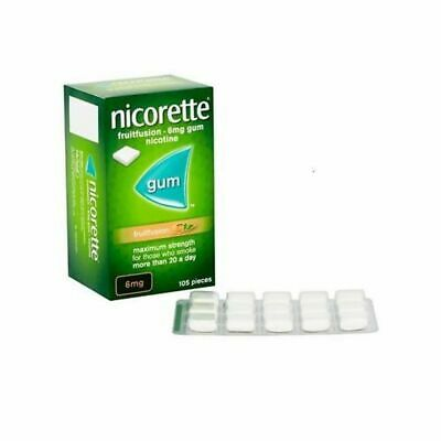 4 x Nicorette Fruitfusion Gum 6mg Pack of 105 Pieces (105 pieces x 4) March 2021