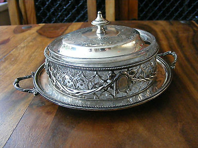 Antique REG Elkington & Co 11760 Silver Plated Dish Tray Bowl with Crystal Glass