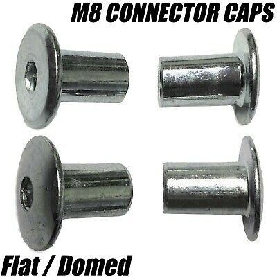 M8 FLAT & DOMED CAP NUT CAPS For JOINT FIXING FURNITURE CONNECTOR BOLTS ZINC
