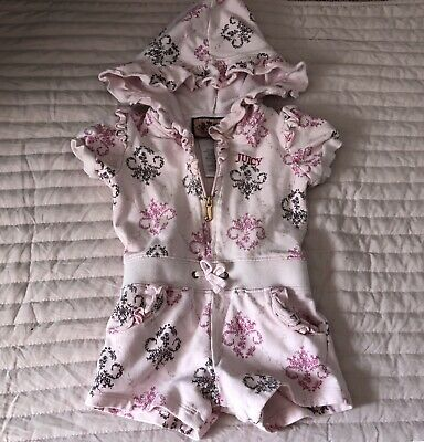 Juicy Couture Baby Infant Girls Hooded Zip Romper Size 6-12 Months