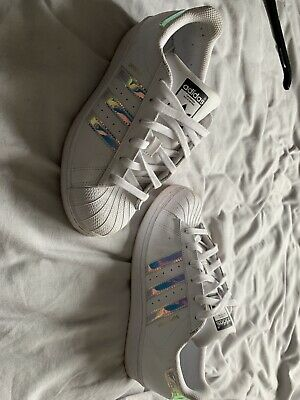 SIZE 5.5 ADIDAS Silver Holographic White Superstar Trainers