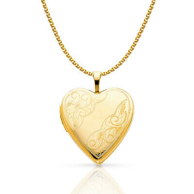 14K Yellow Gold Engraved Heart Locket Charm 1.5mm Flat Open Wheat Chain Necklace