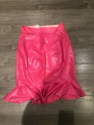 HOUSE OF HARLOT Neon Pink Rubber Latex Fishtail Pencil Skirt Goth Fetish Club M