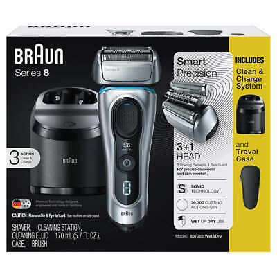 Braun Series 8 Wet and Dry Foil Shaver with Clean & Charge System & Case 8370cc