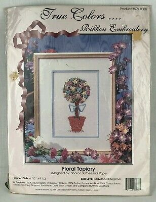 True Colors Ribbon Embroidery Floral Topiary Kit Craft SRK0008 Sealed USA