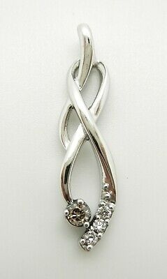 Sterling Silver Brown Chocolate And White Genuine Diamond Intertwined Pendant
