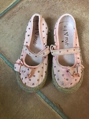 Girls Next Dolly Shoes Pink Canvas Gold Glitter Spots With Bow Size 11