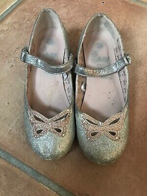Girls Little Shoes For Little Angels Monsoon Silver Pink Glitter Heeled Size 12