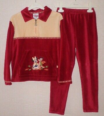 Disney Store Red Velour Sweatshirt And Leggings Christmas Outfit Age 7-8 Years